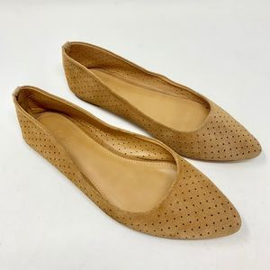 J CREW brown suede flats. Size 7